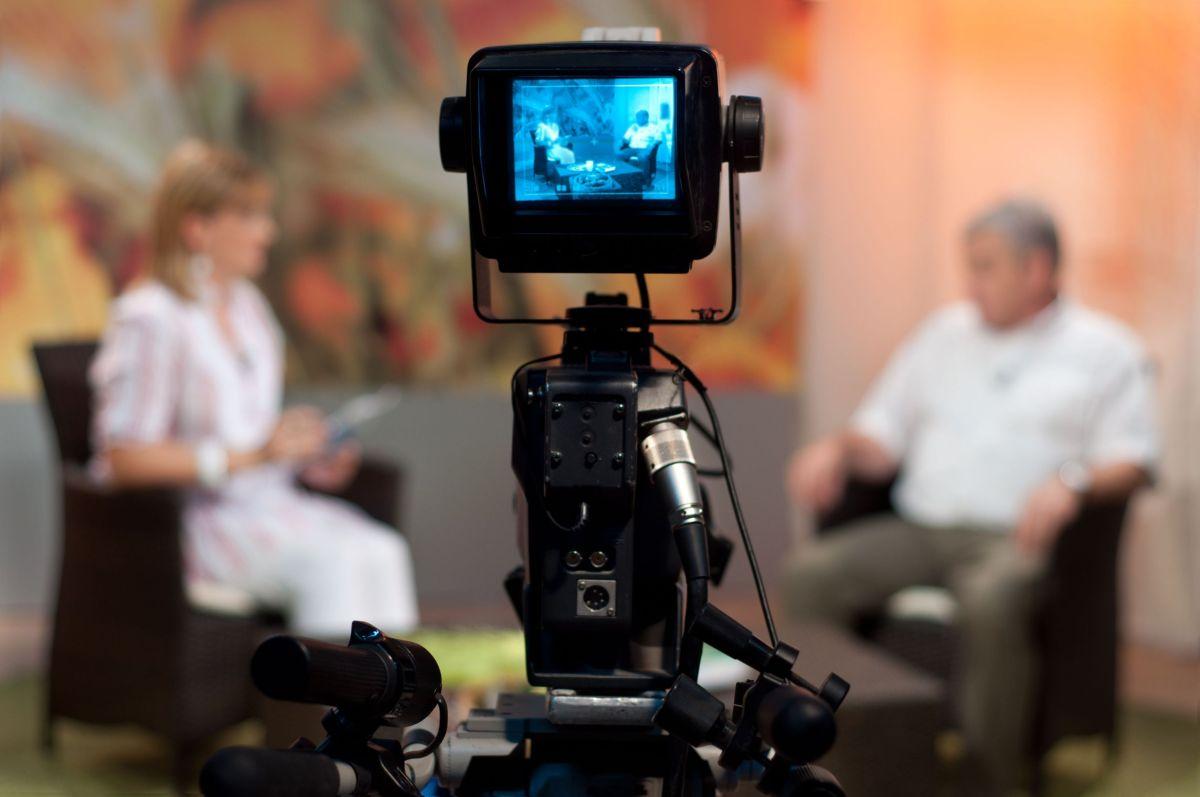 7602132 - video camera viewfinder - recording show in tv studio